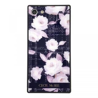 iPhone8/7 ケース CECIL McBEE 背面強化ガラスケース ツイードフラワー/ネイビー iPhone 8/7