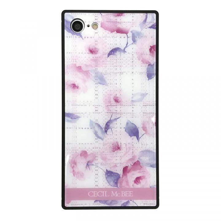 iPhone8/7 ケース CECIL McBEE 背面強化ガラスケース ツイードフラワー/ピンク iPhone SE 第2世代/8/7_0