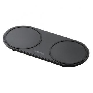 Qi規格対応ワイヤレス充電器 5W+5W 2台同時充電 卓上タイプ ブラック【6月下旬】