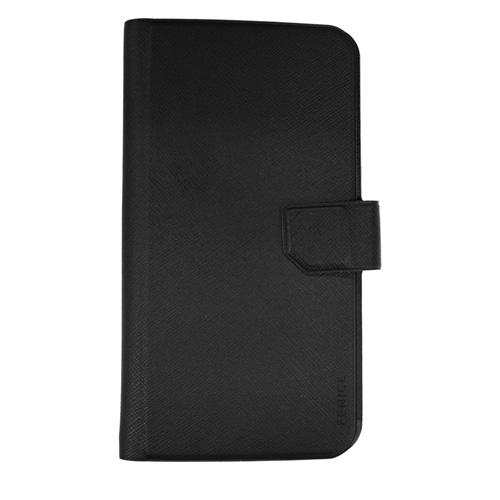 5.2インチ以内スマートフォン対応 レザー調 手帳型ケース ブラック iPhone Android