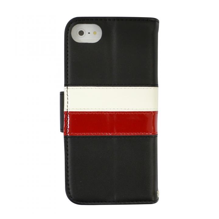 iPhone SE/5s/5 ケース kuboq ICカード対応 本革手帳型ケース ブラック(ホワイト/レッド) iPhone SE/5s/5ケース_0