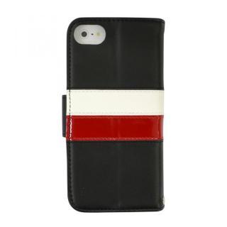 kuboq ICカード対応 本革手帳型ケース ブラック(ホワイト/レッド) iPhone SE/5s/5ケース
