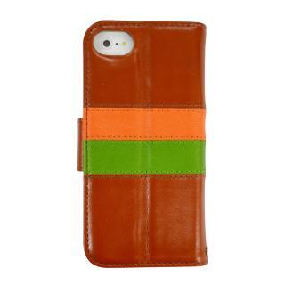 iPhone SE/5s/5 ケース kuboq ICカード対応 本革手帳型ケース ブラウン(オレンジ/グリーン) iPhone SE/5s/5ケース