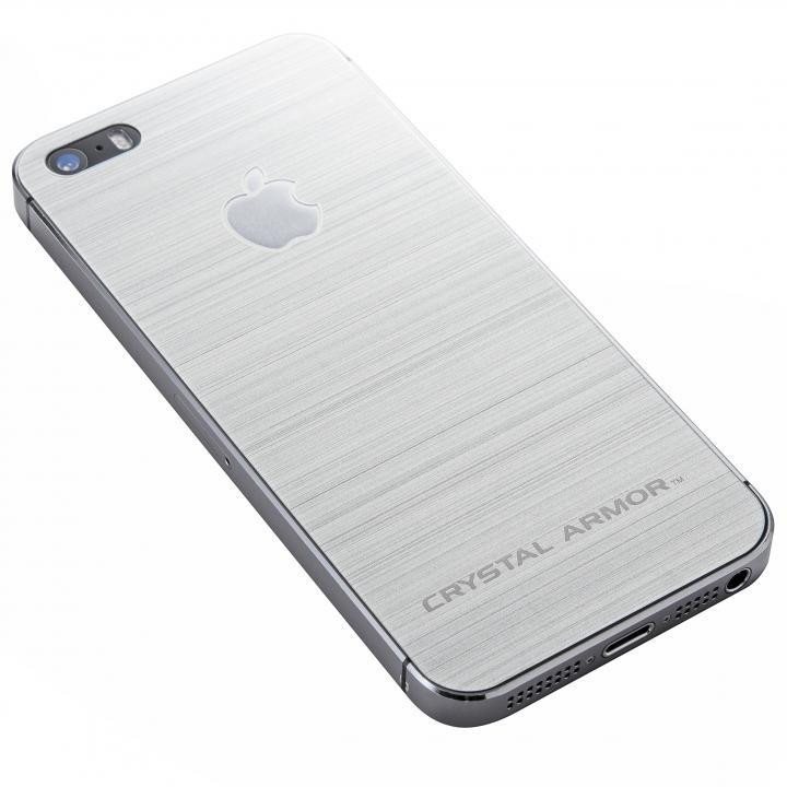 iPhone SE/5s/5 フィルム クリスタルアーマー 強化ガラス バックプロテクター  メタル調シルバー iPhone SE/5s/5_0
