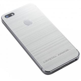 クリスタルアーマー 強化ガラス バックプロテクター  メタル調シルバー iPhone SE/5s/5