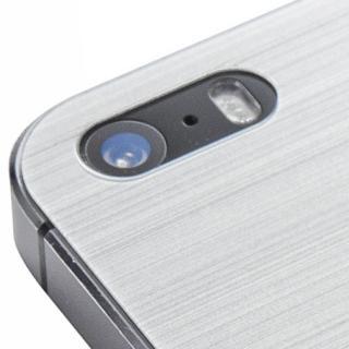 【iPhone SE/5s/5フィルム】クリスタルアーマー 強化ガラス バックプロテクター  メタル調シルバー iPhone SE/5s/5_1