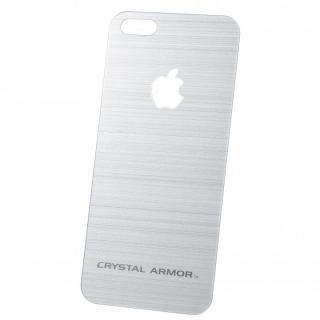 【iPhone SE/5s/5フィルム】クリスタルアーマー 強化ガラス バックプロテクター  メタル調シルバー iPhone SE/5s/5_4