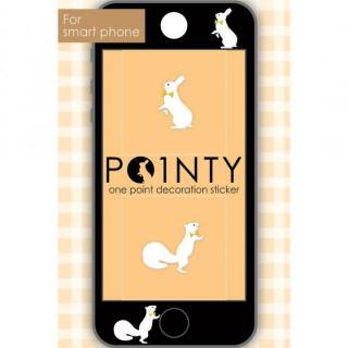 スマホのスキマに小さなおしゃれ POINTY ウサギとリス 白 スキンシール