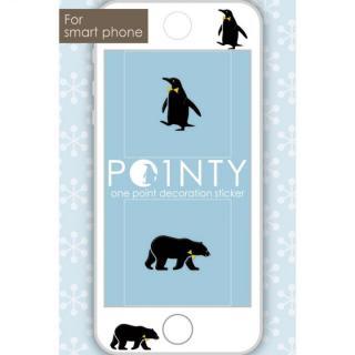 スマホのスキマに小さなおしゃれ POINTY ペンギンとクマ 黒 スキンシール
