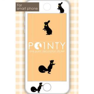 スマホのスキマに小さなおしゃれ POINTY ウサギとリス 黒 スキンシール