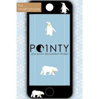 スマホのスキマに小さなおしゃれ POINTY ペンギンとクマ 白 スキンシール