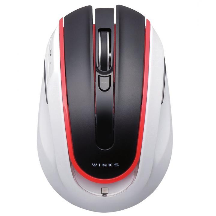 アイドリングストップ機能搭載 5ボタンワイヤレスマウス WINKS レッド_0