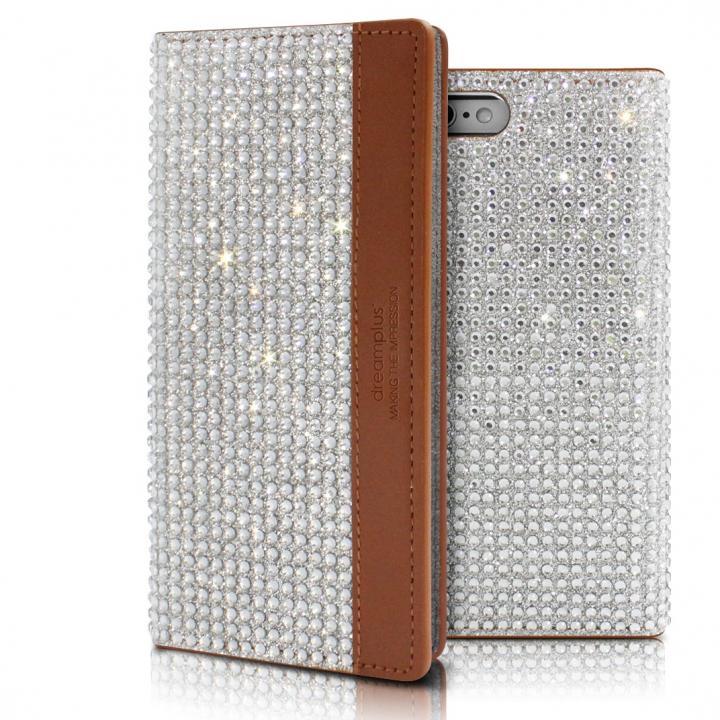 【iPhone6sケース】クリスタルラインストーン 黒牛革手帳型ケース Persian-bay ブラウン iPhone 6s/6_0