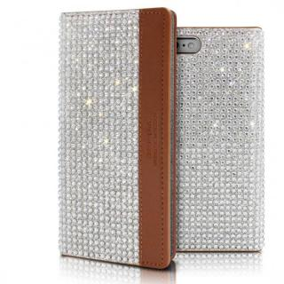 iPhone6s ケース クリスタルラインストーン 黒牛革手帳型ケース Persian-bay ブラウン iPhone 6s/6