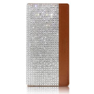 【iPhone6sケース】クリスタルラインストーン 黒牛革手帳型ケース Persian-bay ブラウン iPhone 6s/6_1