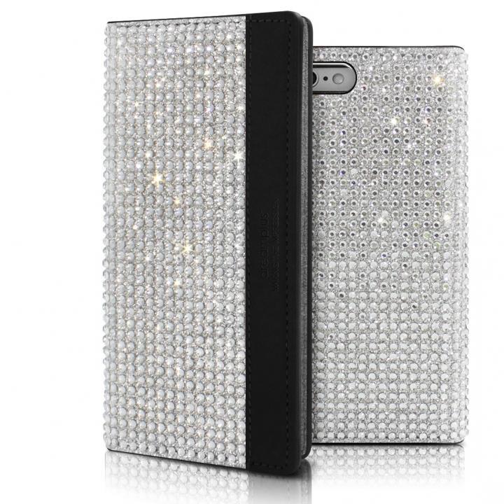 iPhone6s ケース クリスタルラインストーン 黒牛革手帳型ケース Persian-bay ブラック iPhone 6s/6_0