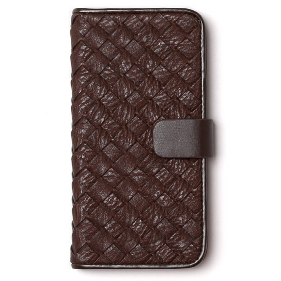 レザーメッシュ手帳型ケース Mesh Diary ダークブラウン iPhone 6s/6