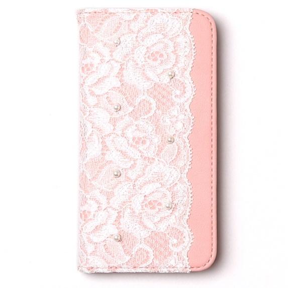 レースデザイン手帳型ケース Lace diary ピンク iPhone 6s/6