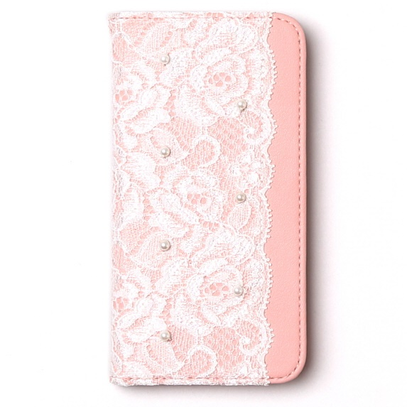 【iPhone6sケース】レースデザイン手帳型ケース Lace diary ピンク iPhone 6s/6_0