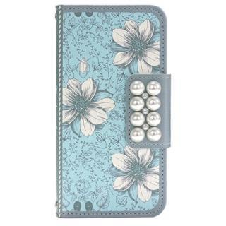 ガーデン柄 手帳型ケース ブルー iPhone 6s