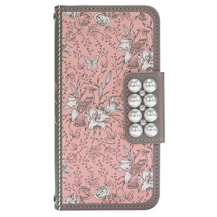 ガーデン柄 手帳型ケース ピンク iPhone 6s