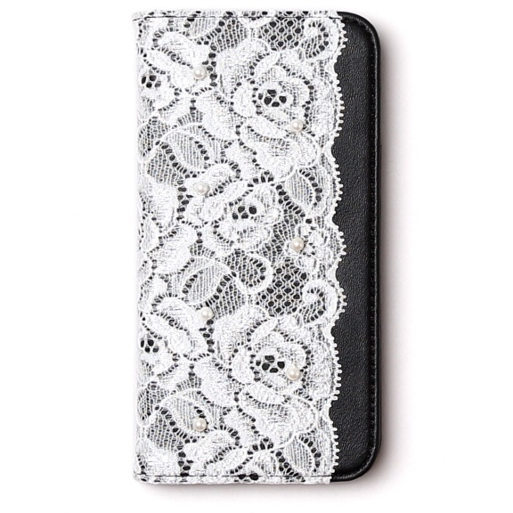 iPhone6s ケース レースデザイン手帳型ケース Lace diary ブラック iPhone 6s/6_0