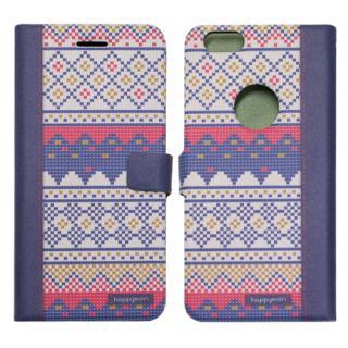 【iPhone6sケース】スカンジナビアセーター 手帳型ケース パープル iPhone 6s/6
