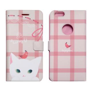 iPhone6s ケース カップルネコイラスト 手帳型ケース ホワイト iPhone 6s/6