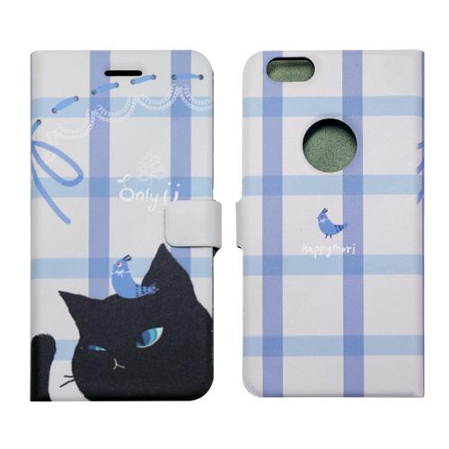 【iPhone6sケース】カップルネコイラスト 手帳型ケース ブラック iPhone 6s/6_0