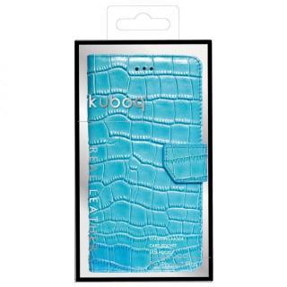 kuboqワニ柄 本革手帳型ケース ターコイズブルー iPhone 7 Plus