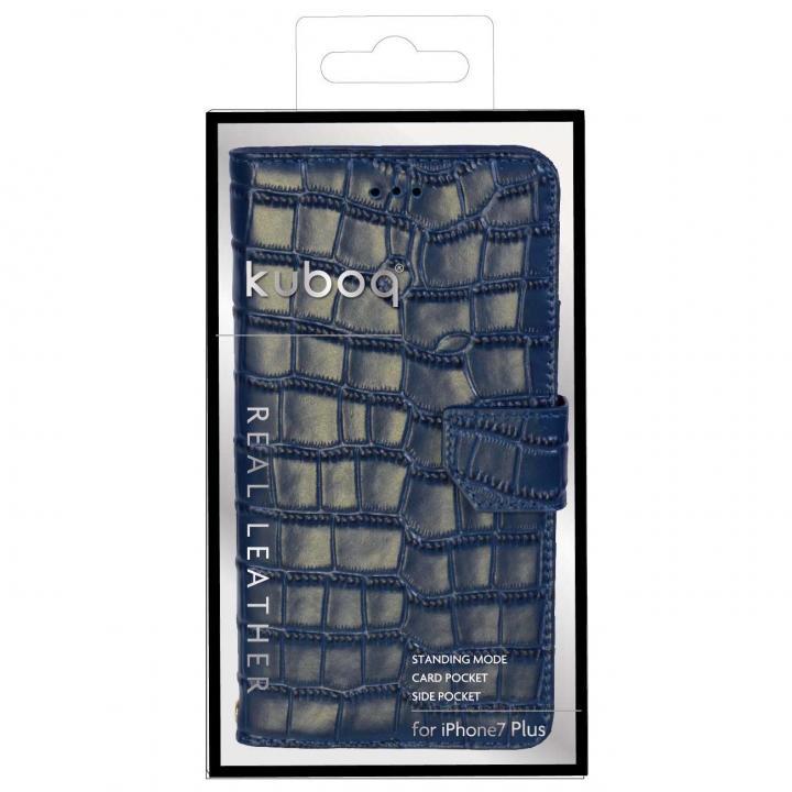 [2018新生活応援特価]kuboqワニ柄 本革手帳型ケース ネイビー iPhone 7 Plus