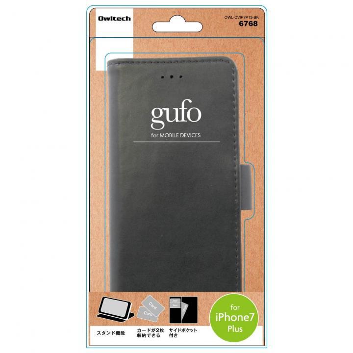 gufo サイドマグネットPU手帳型ケース ブラック iPhone 7 Plus