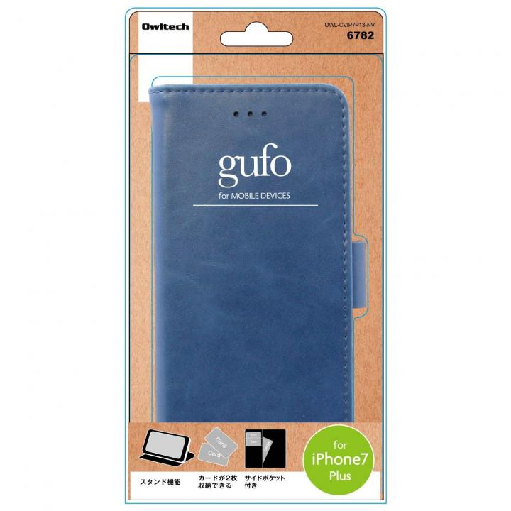 gufo サイドマグネットPU手帳型ケース ネイビー iPhone 7 Plus