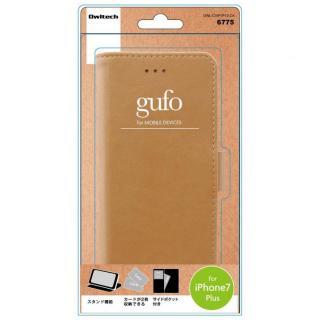 gufo サイドマグネットPU手帳型ケース キャメル iPhone 7 Plus