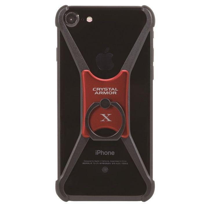 iPhone8/7/6s/6 ケース CRYSTAL ARMOR  X Ring アルミバンパー ブラック×レッド iPhone 8/7/6s/6_0