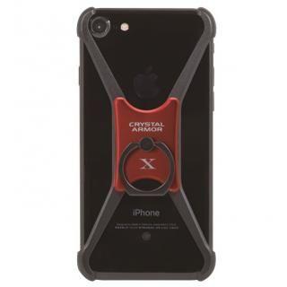 【iPhone8/7/6s/6ケース】CRYSTAL ARMOR  X Ring アルミバンパー ブラック×レッド iPhone 8/7/6s/6