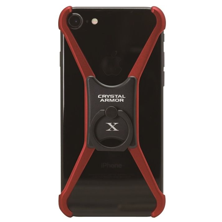 iPhone8/7/6s/6 ケース CRYSTAL ARMOR  X Ring アルミバンパー レッド×ブラック iPhone 8/7/6s/6_0