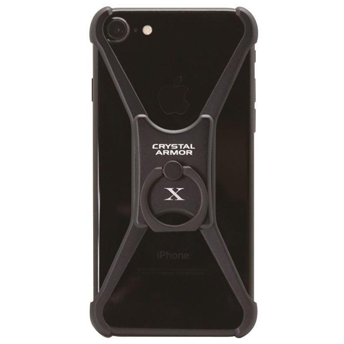 【iPhone8/7/6s/6ケース】CRYSTAL ARMOR  X Ring アルミバンパー ブラック iPhone 8/7/6s/6_0