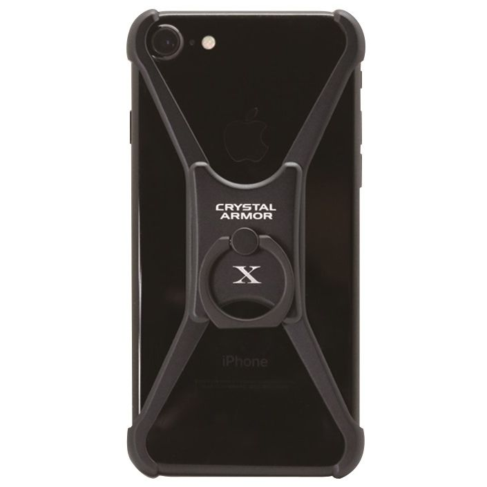 iPhone8/7/6s/6 ケース CRYSTAL ARMOR  X Ring アルミバンパー ブラック iPhone 8/7/6s/6_0