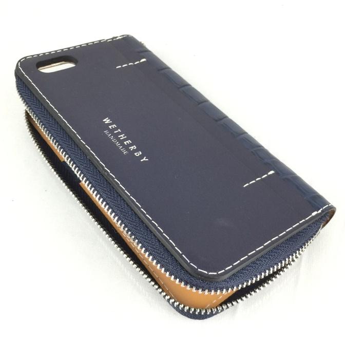クロコダイル型押手帳型ケース Wetherby ネイビー iPhone 6s/6