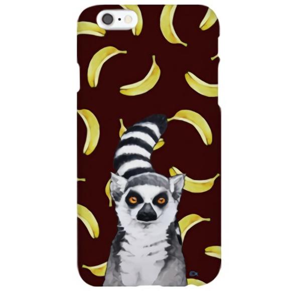 iPhone6s ケース ハイブリッドデザインケース TOUGT CASE アニマル ワオキツネザルとバナナ iPhone 6s/6_0