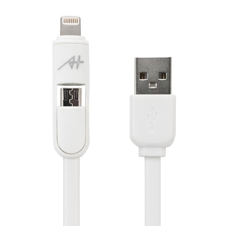 [1m]A+  2 in 1 ケーブル Lightning & Micro USB ホワイト_0