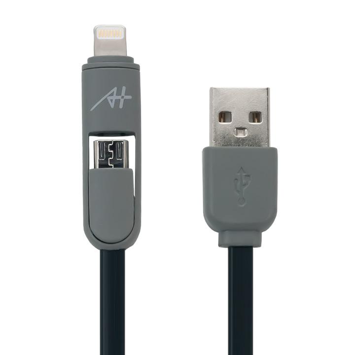 [1m]A+  2 in 1 ケーブル Lightning & Micro USB ブラック_0