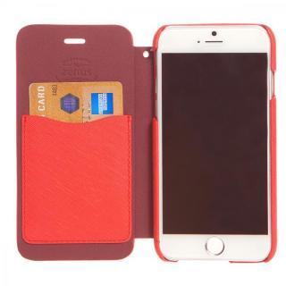 【iPhone6ケース】傷からの保護性が高い本革 手帳型ケース Minimal Diary レッド iPhone 6ケース_3