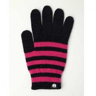 どの指でもスマホが操作できる iTouch Gloves ネイビー/ピンク(ストライプ)Sサイズ