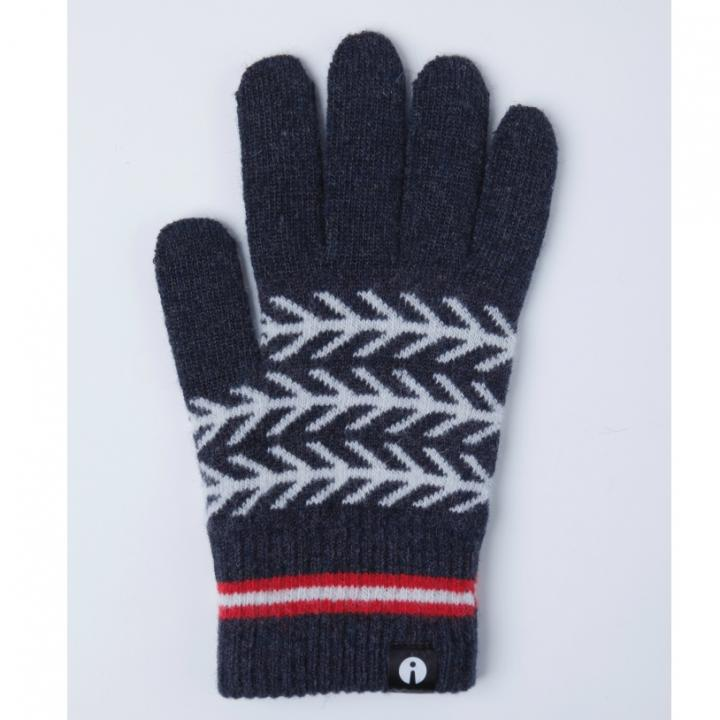 どの指でもスマホが操作できる iTouch Gloves ネイビー(ヘリンボーン)Lサイズ_0