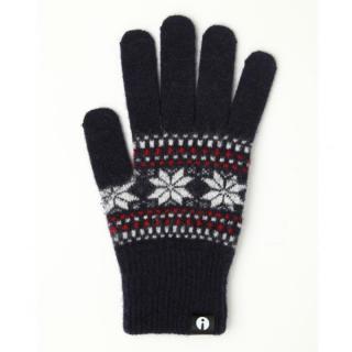 どの指でもスマホが操作できる iTouch Gloves ネイビー(ジャガード)Lサイズ