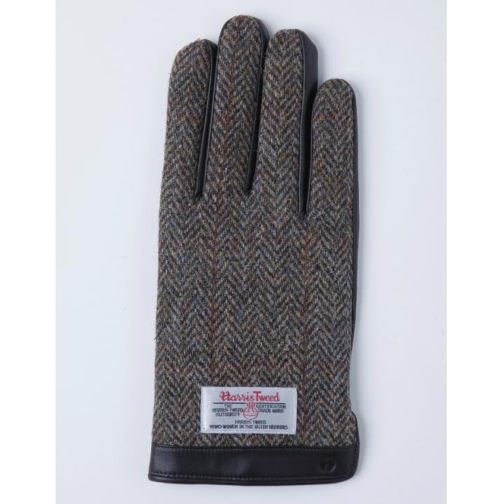 スマホ対応手袋 iTouch Gloves 手のひら側革製ブラウン(ヘリンボーン)Lサイズ_0