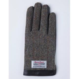 スマホ対応手袋 iTouch Gloves 手のひら側革製ブラウン(ヘリンボーン)Lサイズ