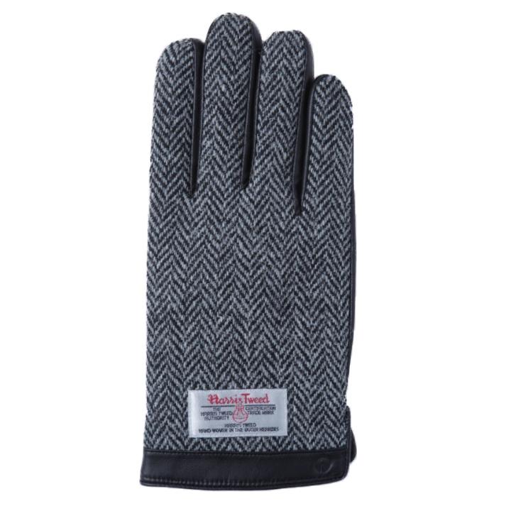 スマホ対応手袋 iTouch Gloves 手のひら側革製ブラック(ヘリンボーン)Lサイズ_0